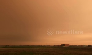 Forest fire smoke covers the sky over Edmonton, Canada