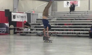 Teenage skater wins competition with incredible two-board trick