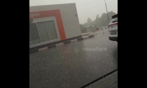 "Hailstones ""the size of quail eggs"" batter Moscow region of Russia"