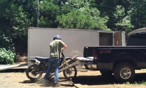 Dirt Bike Busts Through Rotten Ramp
