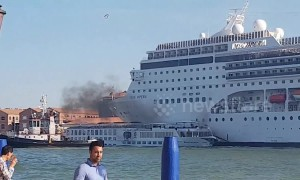 Moment cruise ship rams into tourist boat at Venice harbour