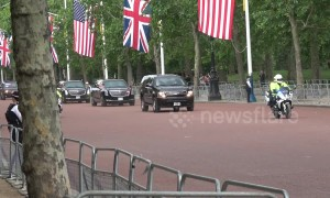Empty streets greet Trump motorcade as it enters the Mall, central London