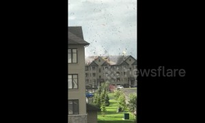 Incredible moment high winds strip roof of Ontario building