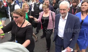 Labour's Corbyn, Thornberry and Abbott arrive for anti-Trump rally