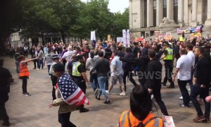 Trump supporters crash protest at Portsmouth's Guildhall Square