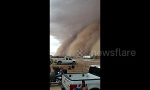 Monster dust storm ploughs through fields in northern Texas