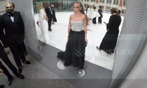 Chloe Green's skirt gets trodden on at Cash & Rocket's masquerade gala