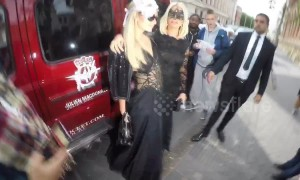 Paris Hilton arrives at Cash & Rocket's masquerade gala in London