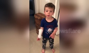 'It's a big Band-Aid!' Little boy accidentally uses sanitary towel as a plaster
