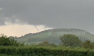 Funnel cloud forms in Somerset, UK