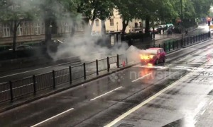 Car bursts into flames in central London