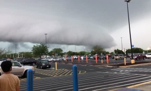Massive Wall Cloud Forms Outside of Store
