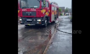 Firefighters drain flooded Lincolnshire neighbourhood after heavy rainfall