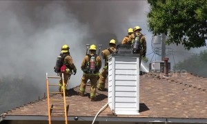 LAFD fights flames at a Reseda home