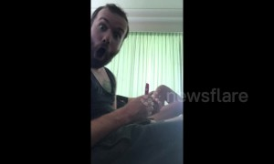 Australian man has the greatest reaction to amazing pen trick