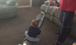 Kid Rides Vacuum like a Horse