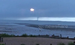 Rare 'tornado' filmed in skies off English coast