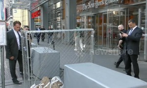 Pro-immigration art installation destroyed outside New York Times headquarters