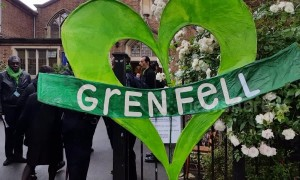 Locals arrive at church commemoration marking Grenfell Tower fire's second anniversary