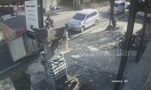 Truck rolls into sign when driver forgets handbrake