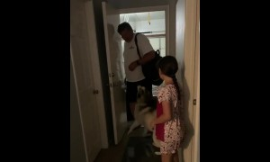 Overly-excited huskies welcome owner's return home