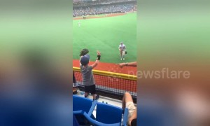 Heartwarming moment baseball player Mike Trout throws a ball to an excited little boy