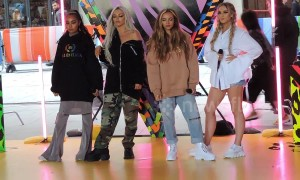 Candid moment as Little Mix get ready for show in London