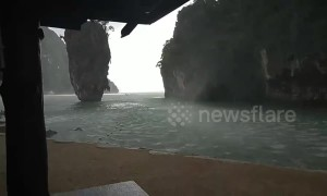 'James Bond' island battered by storm in southern Thailand
