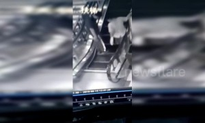 Shoppers avoid injury after steps on an escalator collapse in a Chinese mall
