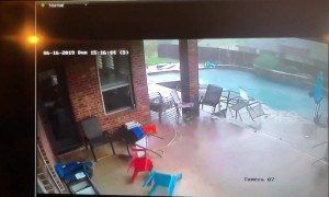 'Table needed cleaning anyway!' Texas storm blows garden furniture into pool