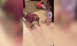 Cute Baby Tries to do Pushups