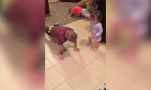 Cute Baby Tries to do Pushups