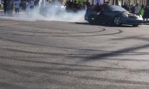 Charger Hits Curb While Spinning Donuts in the Street