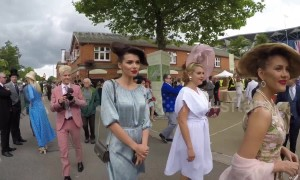Stylish women wear hats made from their own hair at Ascot Ladies Day