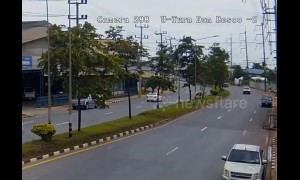 Truck crashes into electricity pole in Thailand causing power outage