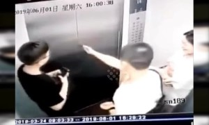 Elevator doors crash open after man one-inch punches them in China