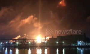 Fire burns through Philadelphia oil refinery causing massive explosion