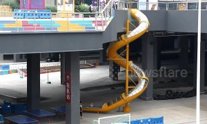 32-foot-high spiral slide has been built at Chongqing train station