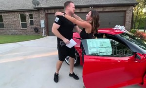 Texas man has emotional reaction to wife surprising him with brand-new Chevrolet Corvette