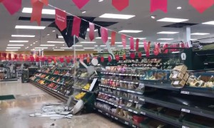 Stirling Tesco wrecked after ceiling collapses and flooding submerges car park