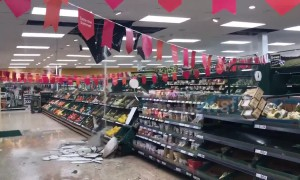 Severe rainfall sees water pour through the ceiling at Tesco in Scotland