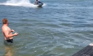 Surreal Jet Ski Football Pass