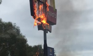Fast Food Sign on Fire