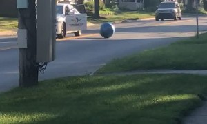 Cabbie Kick Kids Ball From Car