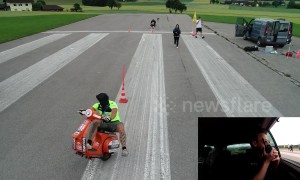 Daring scooter rider attempts blindfolded wheelie world record in Austria