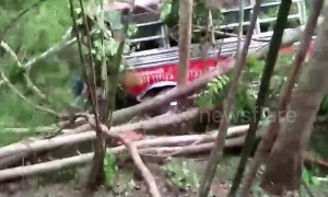 Dozens of schoolchildren injured after bus crashes down ravine on day trip