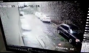 Security cam captures moment wall collapses on parked cars in Mumbai