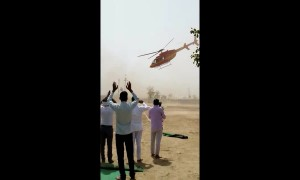 Anxious moments as helicopter carrying Indian politician spins out-of-control