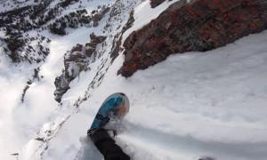 Daring Decent on Snowboard