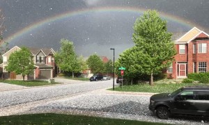 Rainbow Amidst the Hail